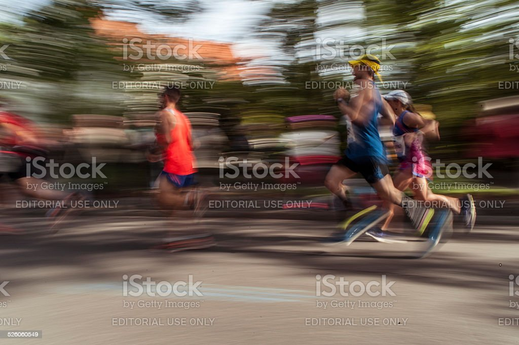 Long distance runner at 41st BMW Berlin Marathon 2014 stock photo