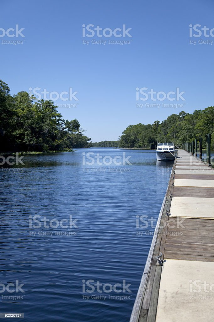 Long Dock with Boat on a River stock photo