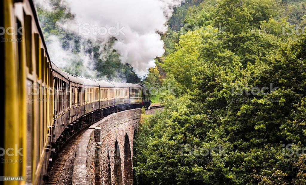 Long English Steam Train stock photo