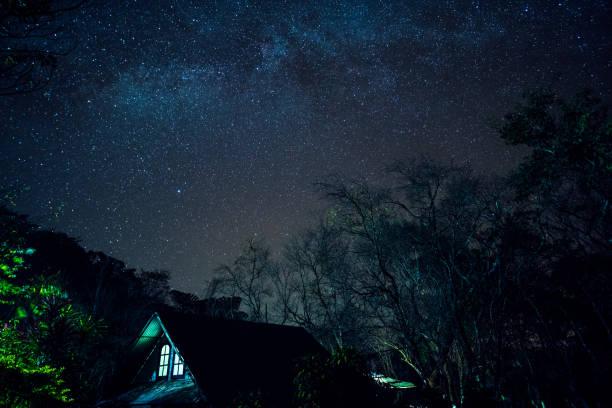 Lange Explosure und hohe ISO erschossen, schöne Milchstrasse und Sterne über den Berg. – Foto