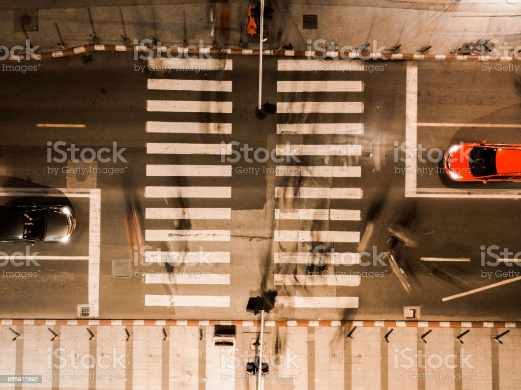 long exposure aerial of a busy street at night stock photo