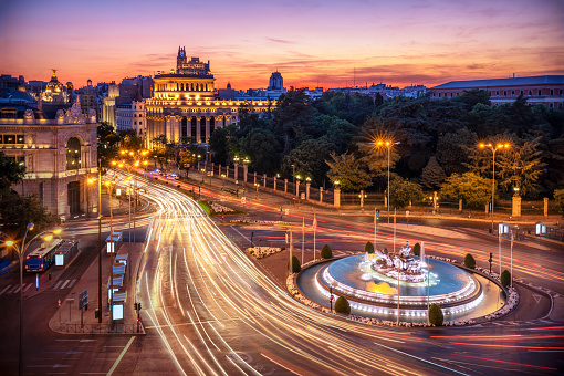 Long Exposure Aerial View And Skyline Of Madrid With Cibeles Fountain At Dusk Spain Europe Stock Photo - Download Image Now