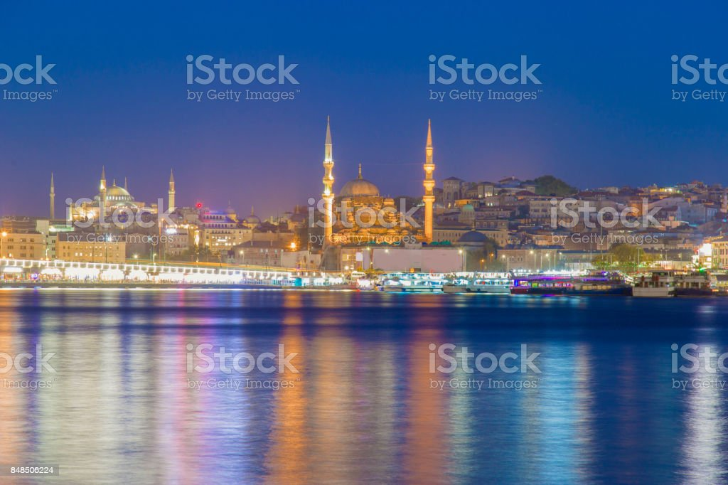 Long exposure aesthetic view of Galata Bridge stock photo