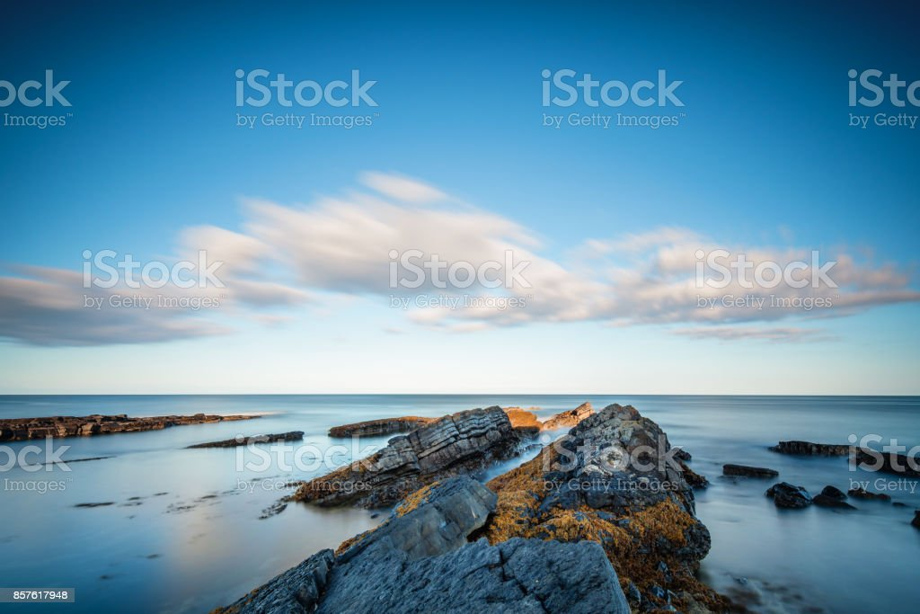 Long Exposure at Howick Coastline stock photo