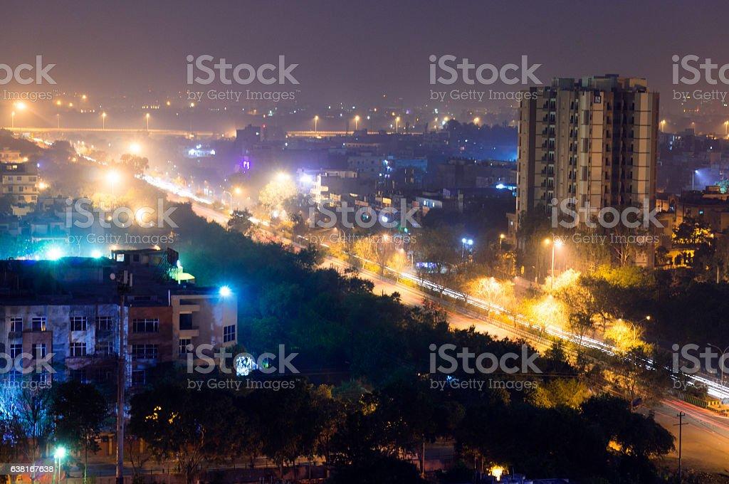 Long exposure at night of Noida Gurgaon cityscape stock photo