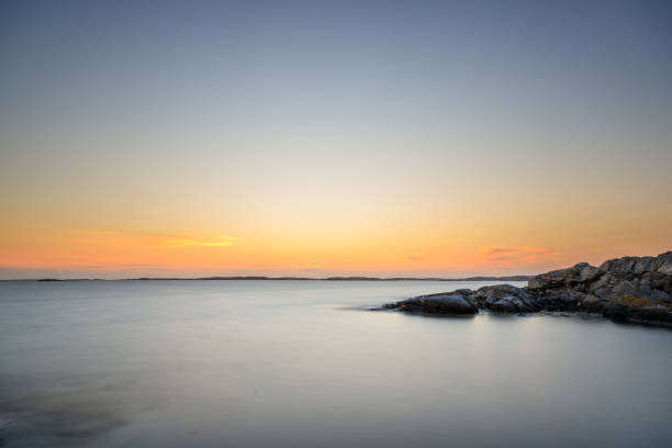 A long exposure at the sea in Sweden stock photo
