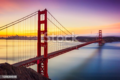 istock Long exposure before sunrise in golden gate bridge, san francisco, usa 1059094548