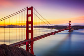 Long exposure photo of golden gate bridge before sunrise in San Francisco. California. USA