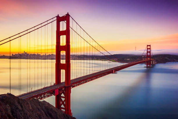 Long exposure before sunrise in golden gate bridge, san francisco, usa Long exposure photo of golden gate bridge before sunrise in San Francisco. California. USA golden gate bridge stock pictures, royalty-free photos & images