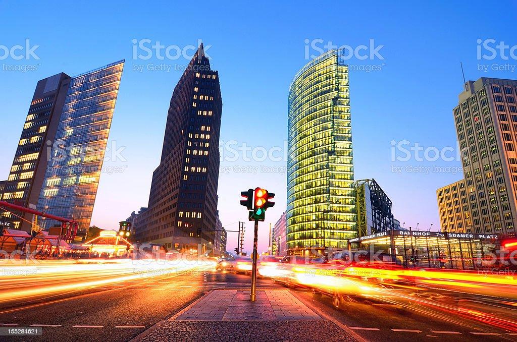 Long exposure capture of rush hour Berlin, Germany stock photo