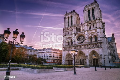 Long exposure: Cathedral of Notre Dame and street lights at sunrise – Paris, France