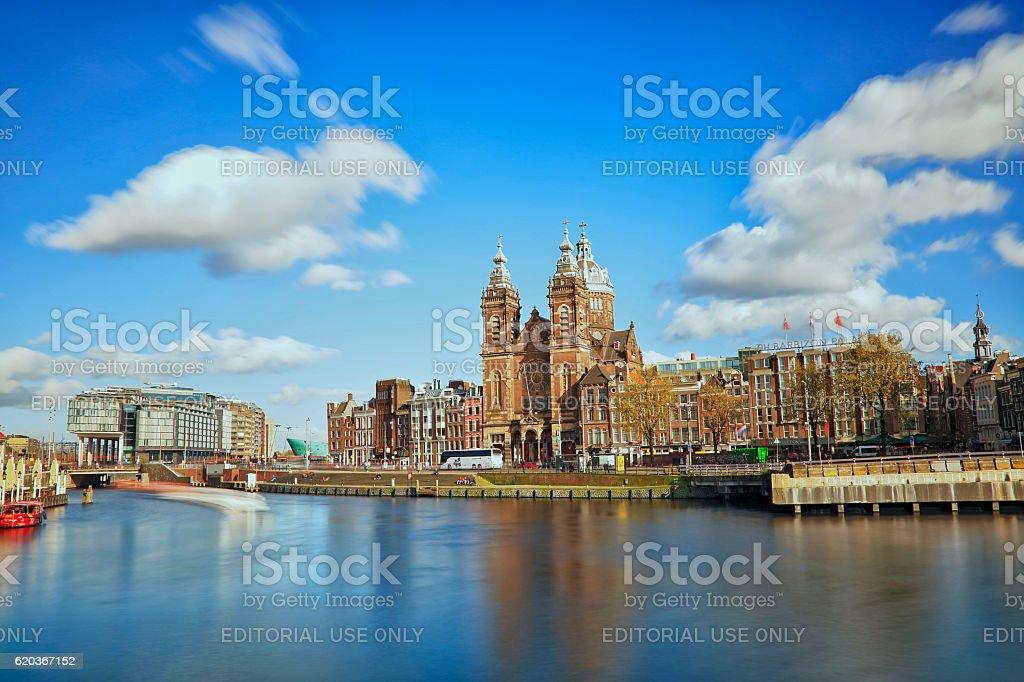 Long exposure Church of Saint Nicholas in Amsterdam, Netherlands zbiór zdjęć royalty-free