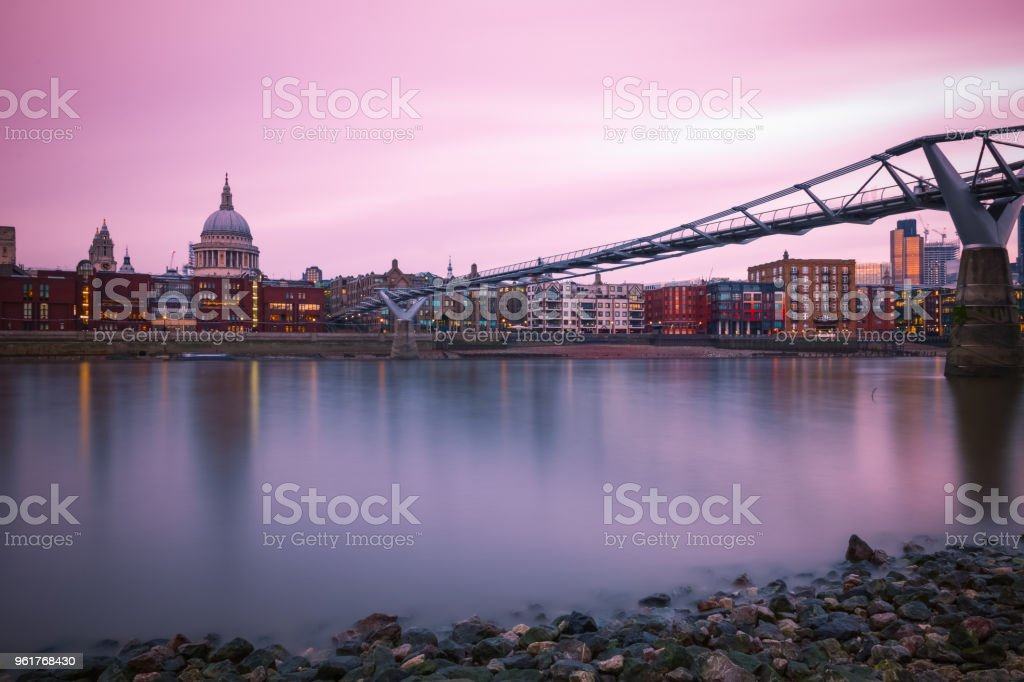 Long exposure, City of London, Millennium bridge and St Paul's cathedral stock photo