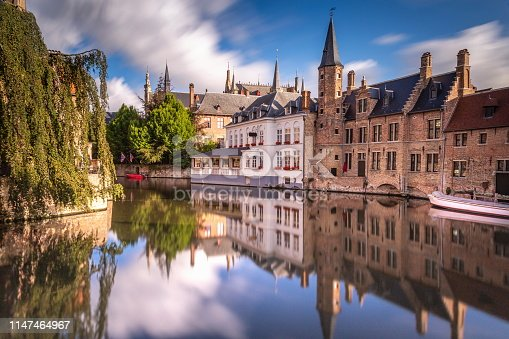 Long exposure Idyllic blurred Rozenhoedkaai at sunrise – Bruges medieval old town - Belgium