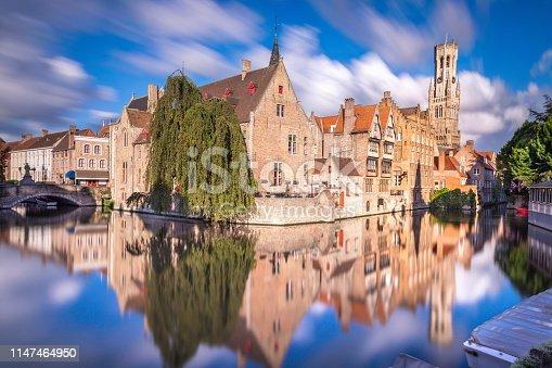 Long exposure Idyllic blurred Rozenhoedkaai at sunrise – Bruges medieval old town - Belgium