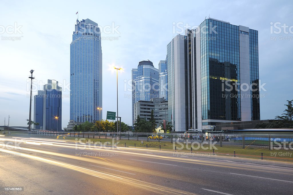 Long exposure image of Business District of Istanbul, Turkey royalty-free stock photo