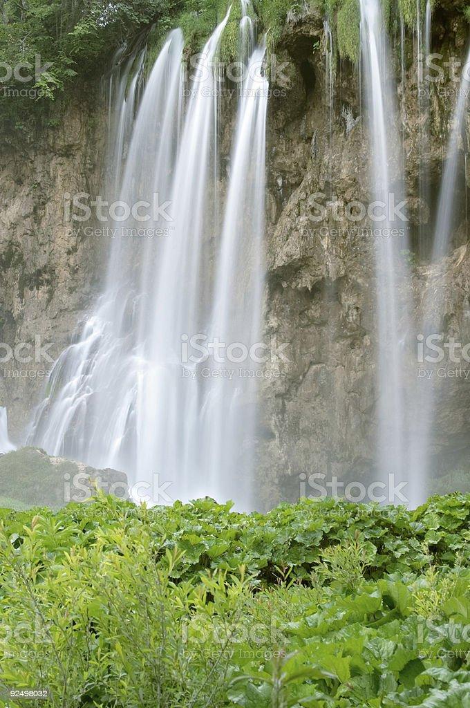 Long exposure image of waterfall in Plitvice lake, Croatia royalty-free stock photo