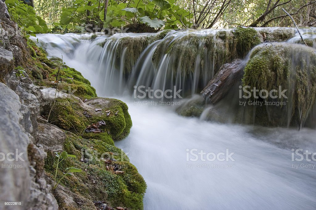 Long exposure image of waterfall in Plitvice lake royalty-free stock photo