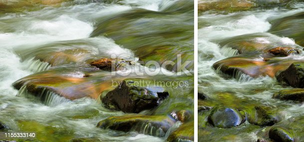 Two Long Exposure Images of the Little River in the Great Smokey Mountains National Park, Horizontal and Vertical