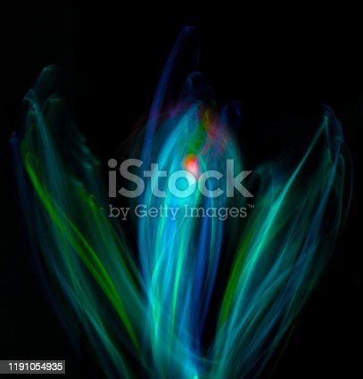 Abstract green flower concept with light painting.