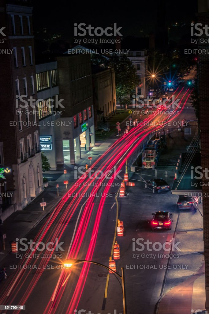 Long Exposure Light Trail of Urban Road in The Night stock photo
