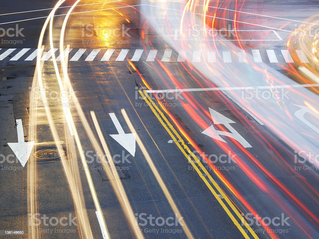 Long exposure motion blur of city street traffic stock photo