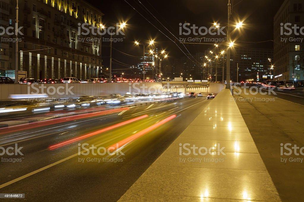 Long exposure night Highway Traffic. stock photo