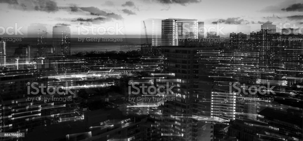 Long Exposure Night Landscape Ohau Hawaii stock photo
