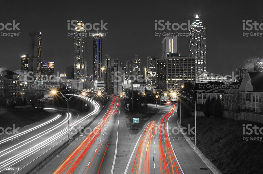 Long exposure night shot of Atlanta stock photo