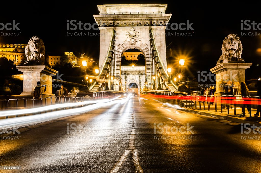 Long exposure Night view of Széchenyi Chain Bridge with car light trail stock photo