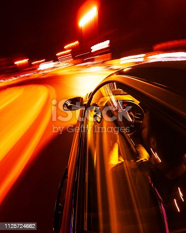 long exposure of a car in the night