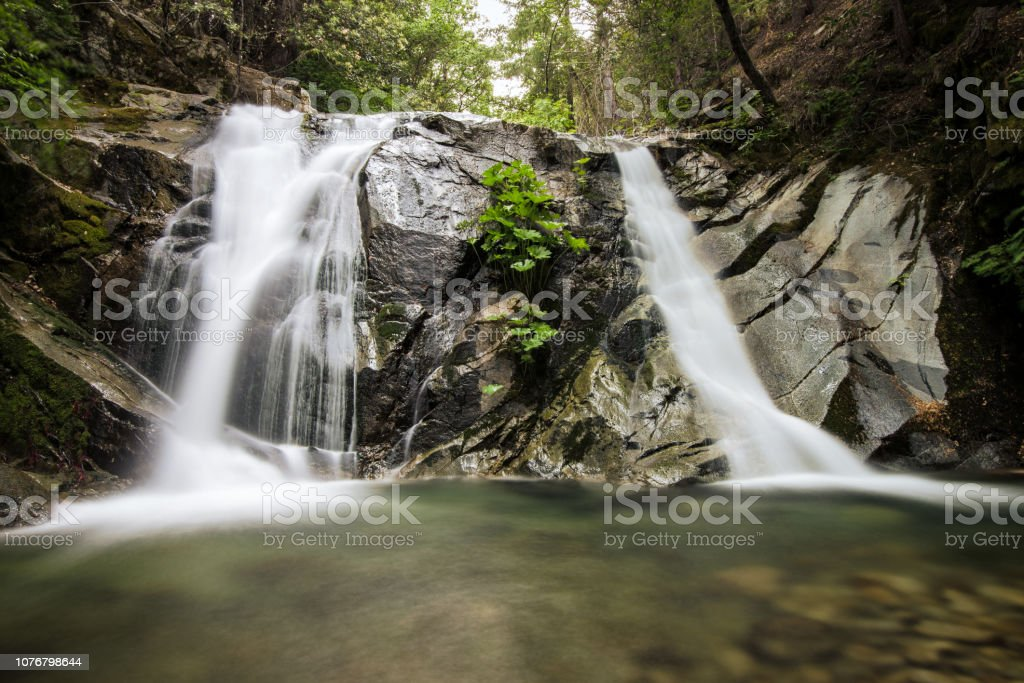Long exposure of a remote waterfall in Whiskeytown, Northern California stock photo