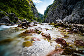 A long exposure of a river in the alps steh the hoellentalklamm