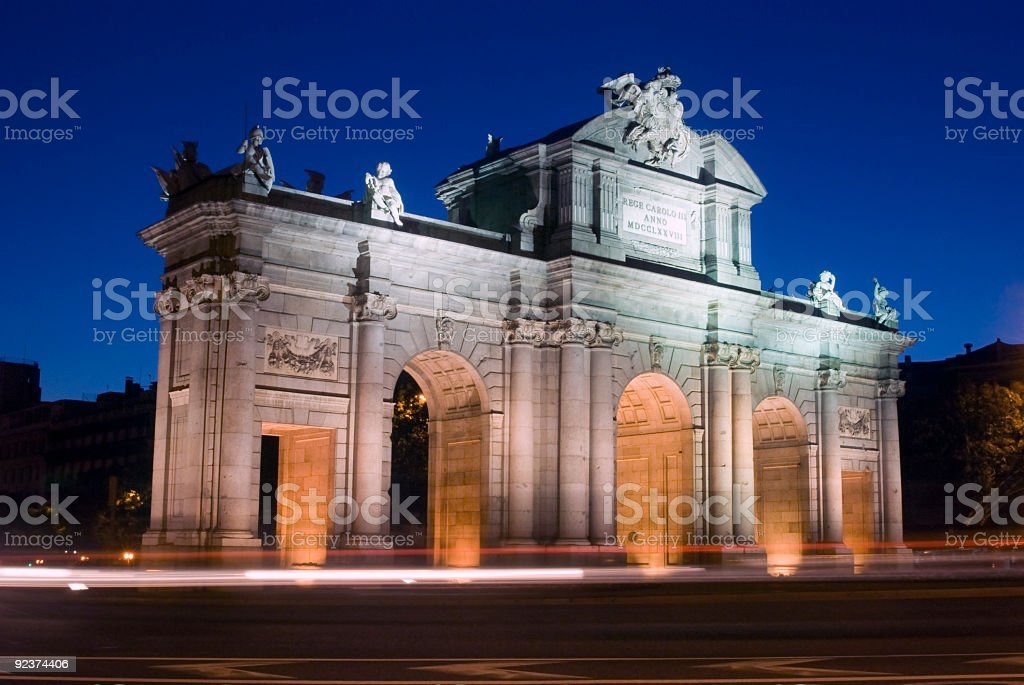 Long Exposure of Alcala Gate at Dusk in Madrid, Spain royalty-free stock photo