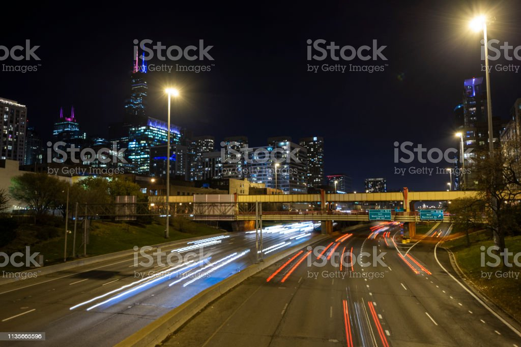 Long exposure of Chicago's I-90 stock photo