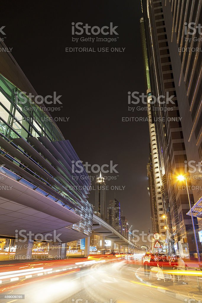 Long exposure of Dubai subway station royalty-free stock photo