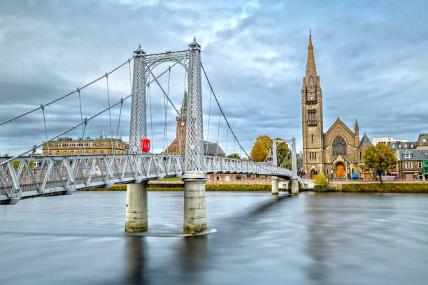 Long exposure of Greig Street Bridge in Inverness, Scotland The Greig Street Bridge in Inverness in Twilight inverness scotland stock pictures, royalty-free photos & images