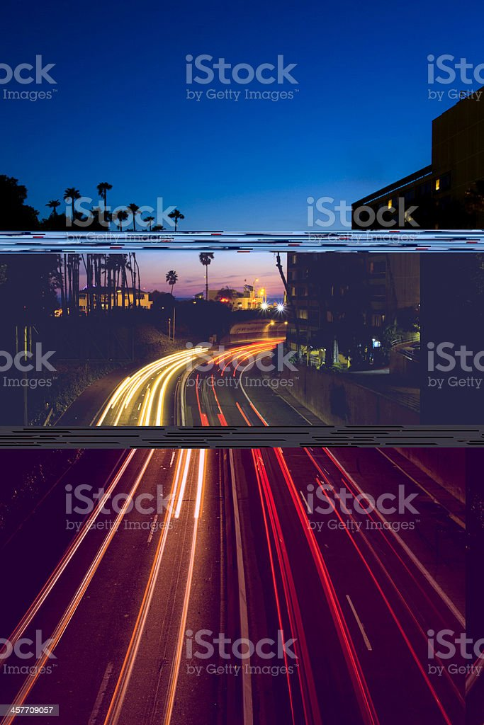 Long Exposure of Highway at Night royalty-free stock photo