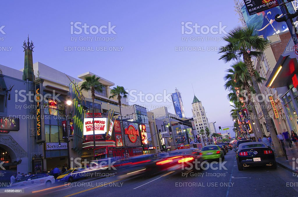 Long exposure of Hollywood Boulevard in Los Angeles, CA stock photo