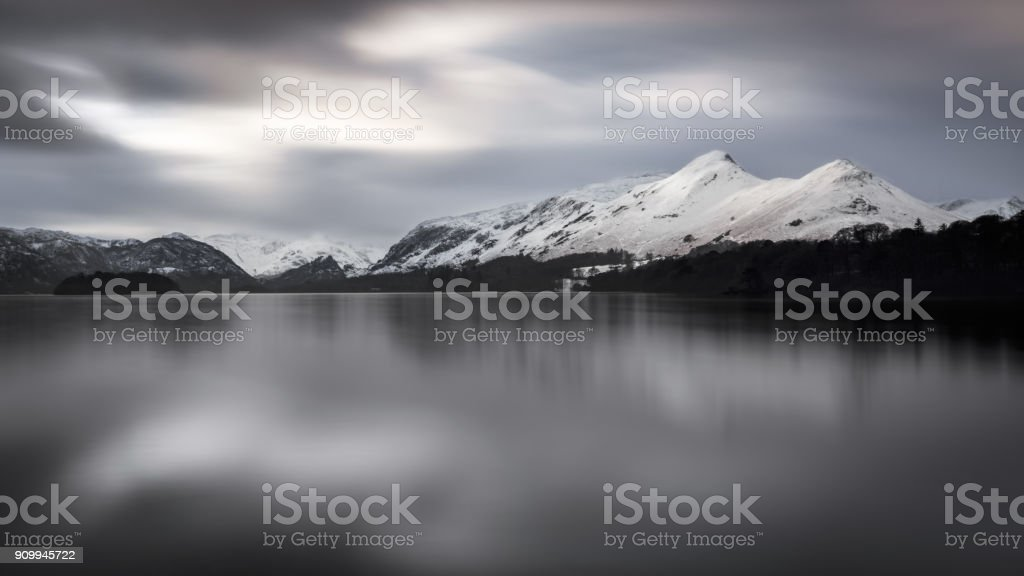 Long exposure of morning light on Derwentwater stock photo