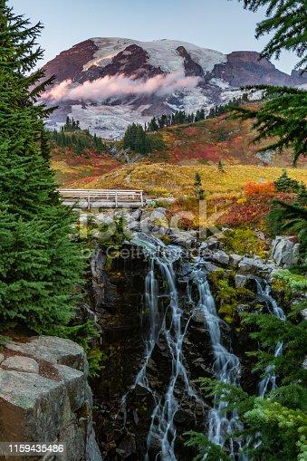 Long Exposure of Myrtle Falls in Autumn underneath Mount Rainier