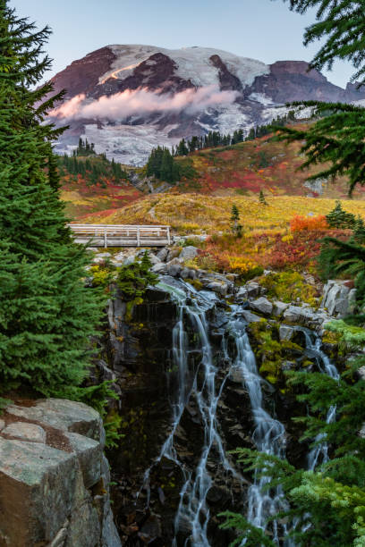 Long Exposure of Myrtle Falls in Autumn Long Exposure of Myrtle Falls in Autumn underneath Mount Rainier mt rainier stock pictures, royalty-free photos & images