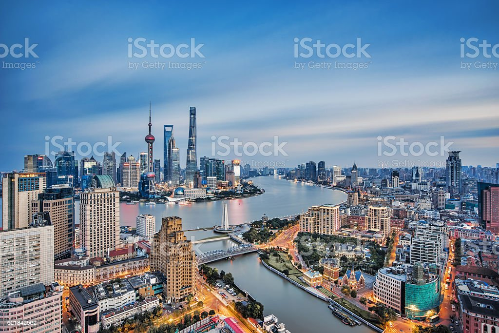 Long exposure of Shanghai,China stock photo