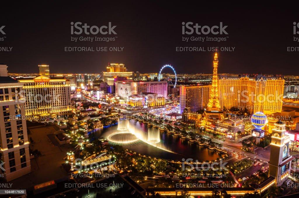 Long exposure of the Bellagio Fountains & Las Vegas Boulevard stock photo
