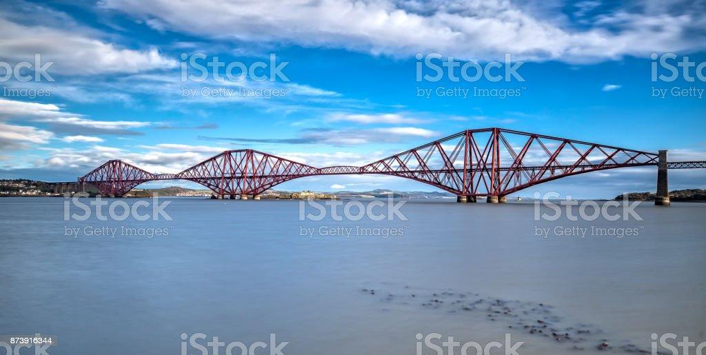 Long Exposure of the Forth Bridge in Edinburgh stock photo