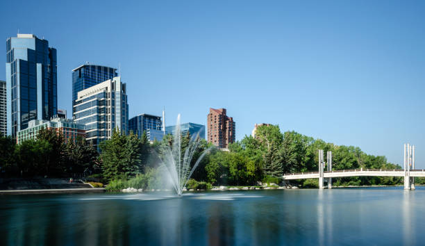 Long exposure of the fountain in Bow River, Calgary stock photo