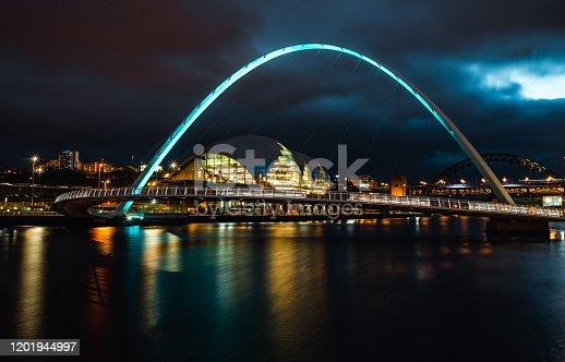 istock Long Exposure of the Gateshead Millennium Bridge 1201944997