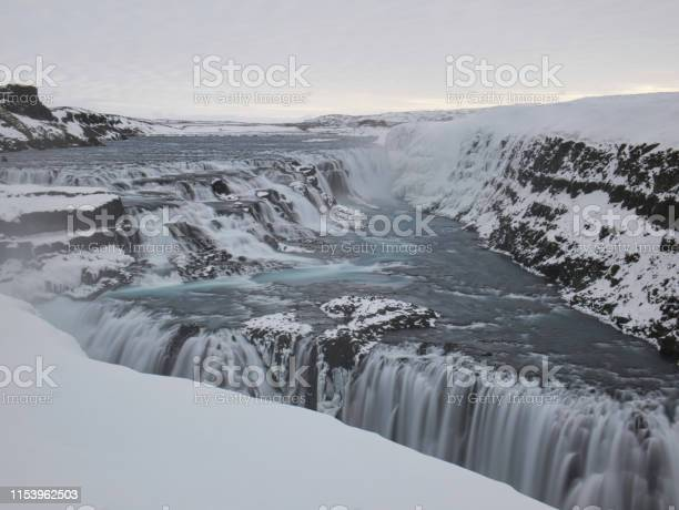Photo of A long exposure of the Gullfoss waterfall