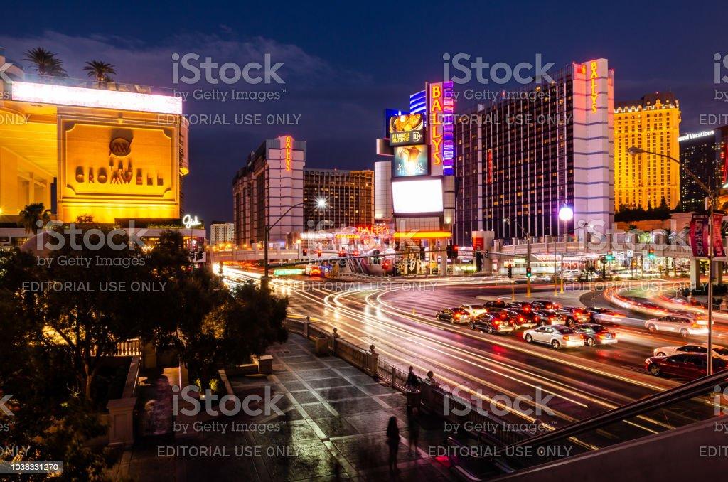 Long exposure of the intersection of Las Vegas Boulevard & East Flamingo Road stock photo