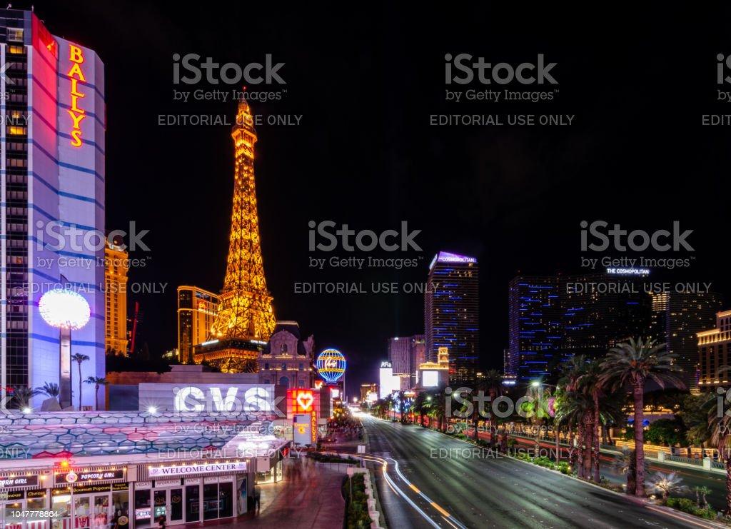 Long exposure of the Las Vegas Boulevard stock photo
